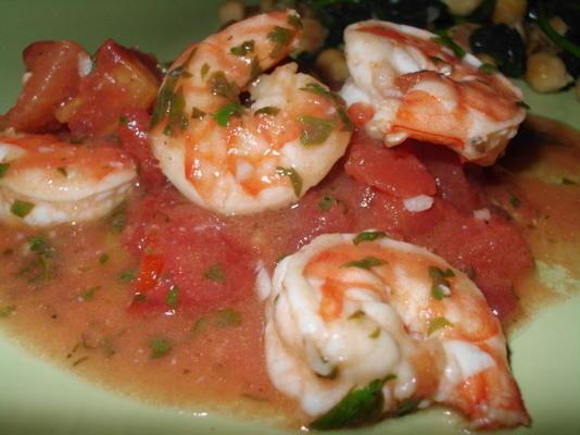 Camarones Con Lima, Cilantro Y Tomates.