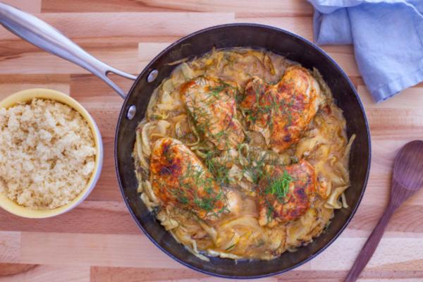 Pollo e hinojo marroquí especiado