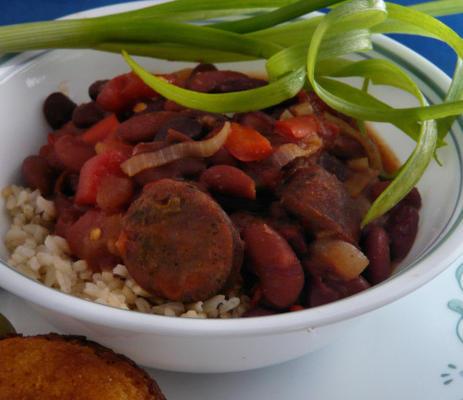 Alubias rojas y arroz con chorizo.