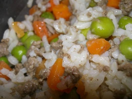 carne de res, arroz, guisantes y zanahorias un plato de comida