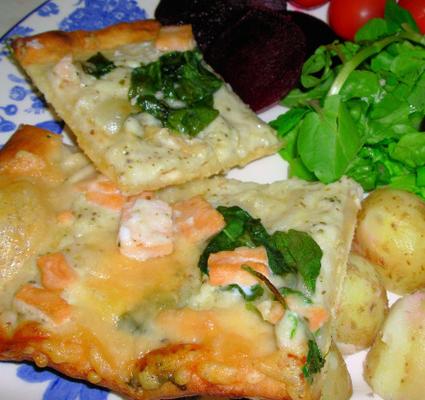 salmón ahumado y pizza de queso de cabra