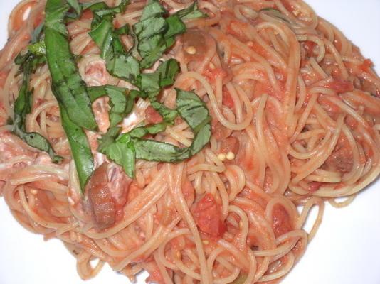 Espaguetis Con Berenjenas Y Queso De Cabra