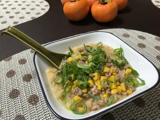Olla de arroz (congee / jook / okayu) olla arrocera con cerdo y maíz