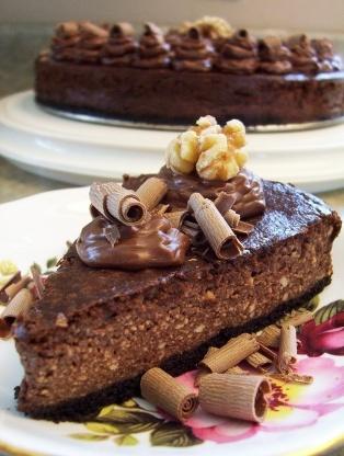 Pastel de queso brownie de nuez