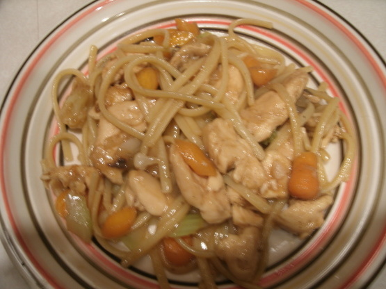 Pollo verdura lo mein